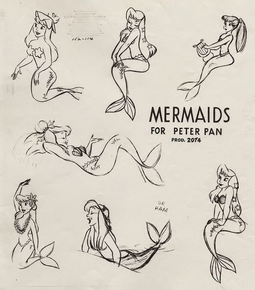 Peter Pan Mermaids Sketch Reference (1953)