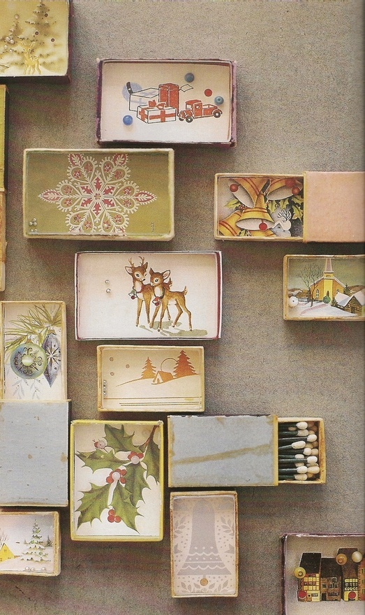 shadow box match boxes--with a small bunch of pinecones in a bag for neighbors' firestarters