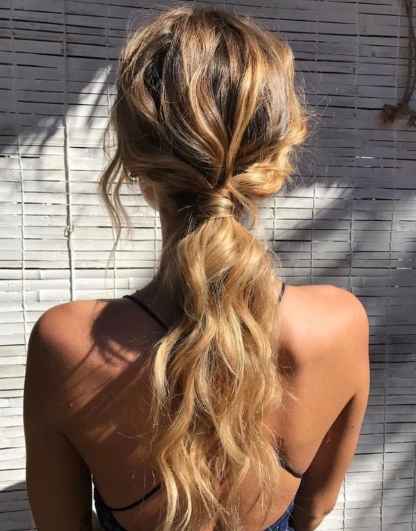 Beach Waves Pony In 2019 Hair Styles Low Ponytail