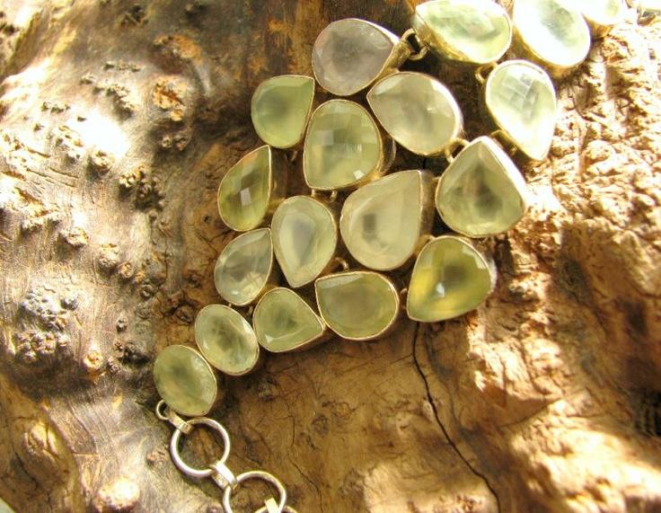 Huge faceted phrenite & sterling silver bracelet on Ebay.com ~ SOLD~
