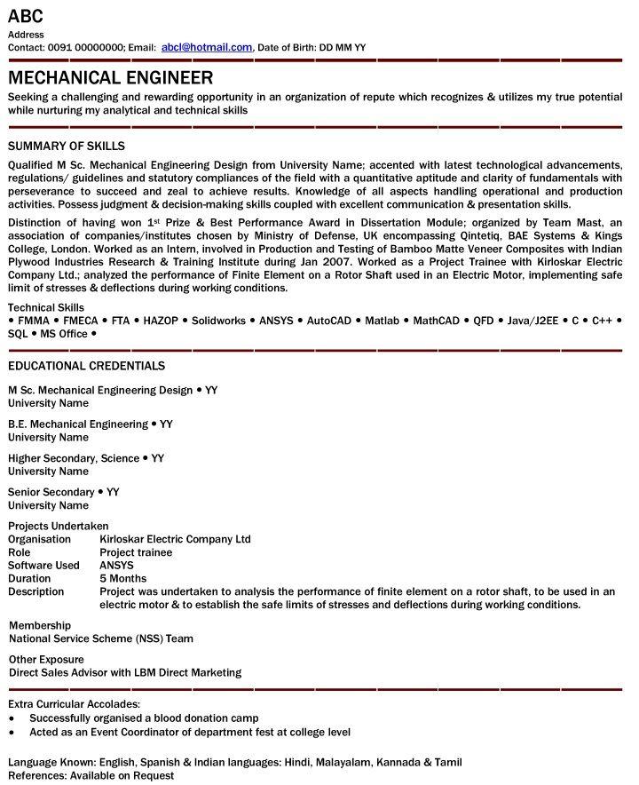 mechanical engineer resume for fresher mechanical engineer resume for fresher we provide as reference to - Principal Mechanical Engineer Sample Resume