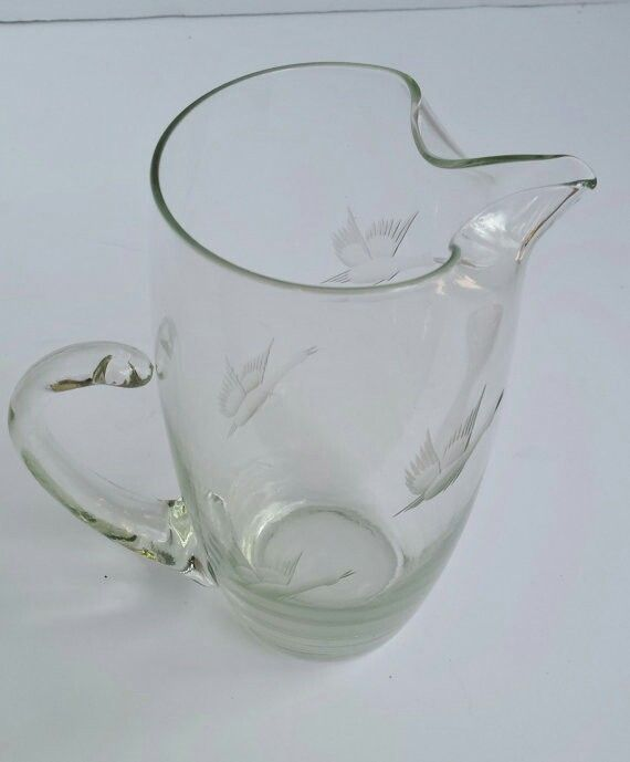 Vintage Artistic Glass Pitcher with Etched Ducks or Geese Design