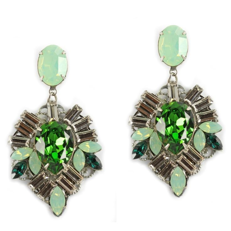 Emerald and Mint drops - Chrysolite opal. Locally made by Australian Jewellery Designer Paula Hall