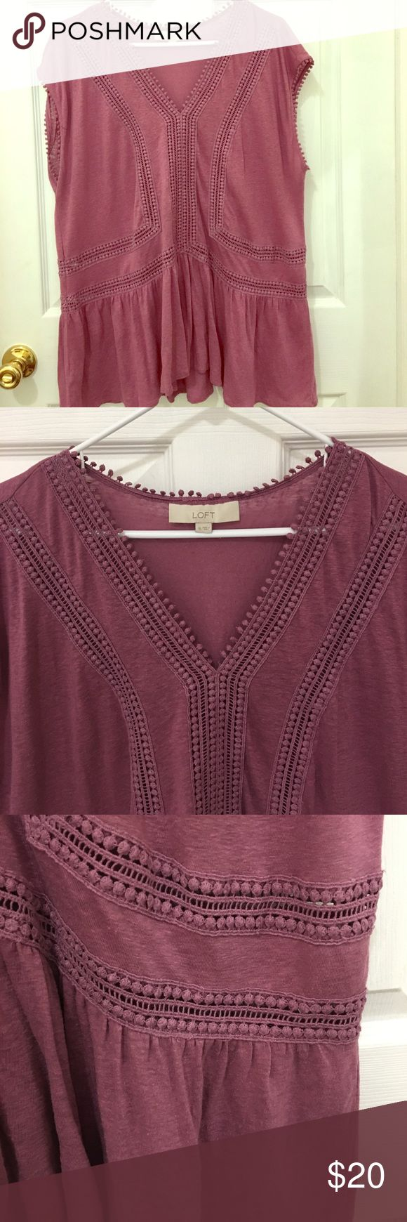 Pink peplum top with crochet details This super cute top is in great condition! It's unique because of its' crochet details and open stitching which allow you to decide if you want to wear something under or show a peek of skin 😉💕 LOFT Tops Blouses