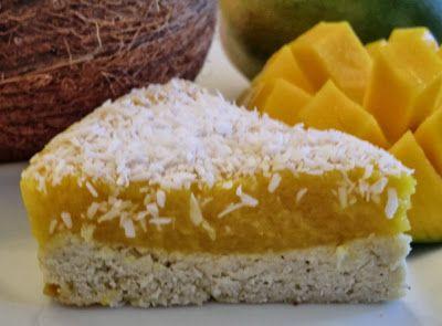 Gâteau léger à la noix de coco et à la mangue  sans gluten et sans lactose
