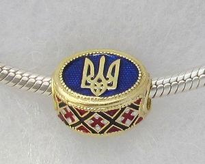 Ukrainian Tryzub | Ukrainian Trident Tryzub Pandora Bead Jewelry Blue Enamel Red ...
