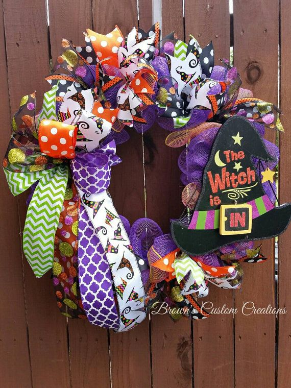 deco mesh slim halloween wreath witch hat wreath fun halloween wreath halloween deco mesh wreath door wreath the witch is in wreath - Halloween Deco