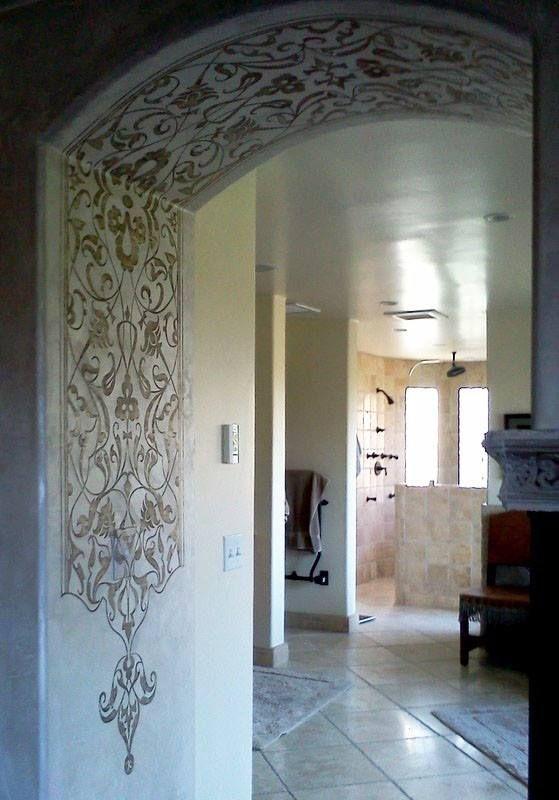 Stenciled Arch | Modello® Designs Eastern Panel vinyl stencil  Artist: Tamra Cook