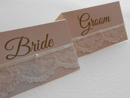Pretty pearl and lace place name cards