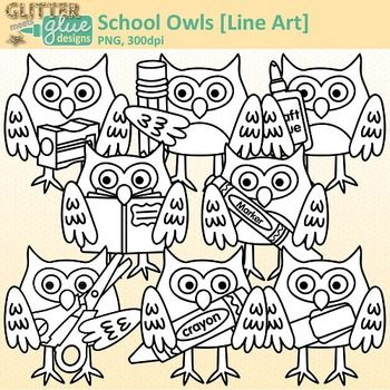 School Owl Clip Art: School Supply Graphics B&W {Glitter ...