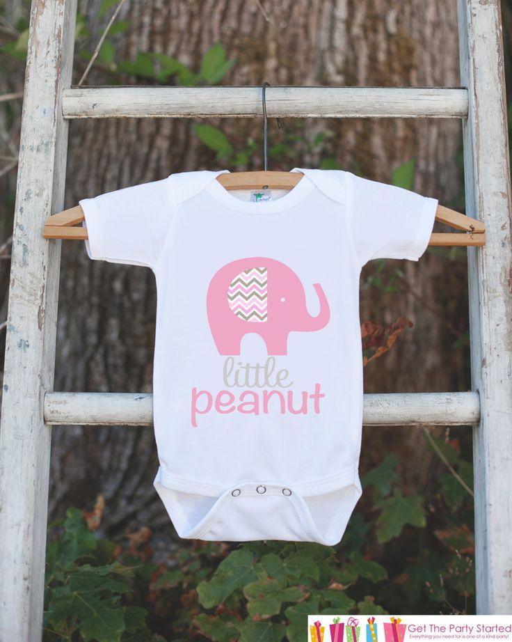 Pink Elephant Bodysuit - Elephant Onepiece Bodysuit - Little Peanut Elephant Outfit - Novelty It's a Girl Gender Reveal Outfit Newborn Girl
