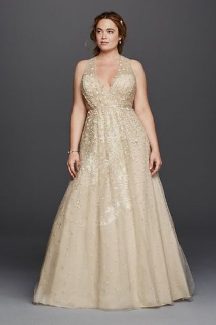 vestido largo de fiesta en champan con pedreria - lentejuelas (XL)