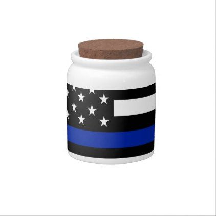 Police Flag with Officers Candy Dishes - office decor custom cyo diy creative