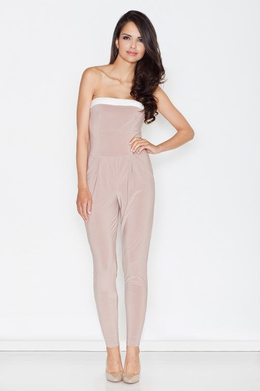 Beige jumpsuit sleeveless based on the bust