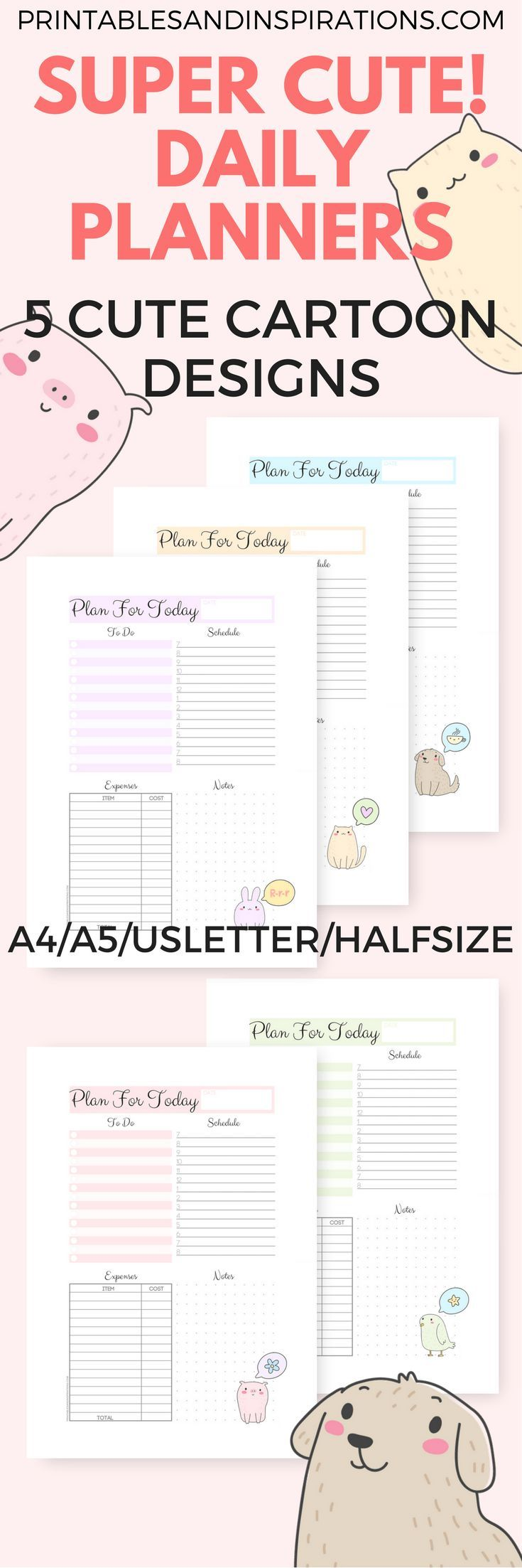 Free Printable Cute Daily Planners Daily Planner Printable For Ring Binder Half Size Daily Planner Cute Daily Planner Daily Planner Printable Daily Planner