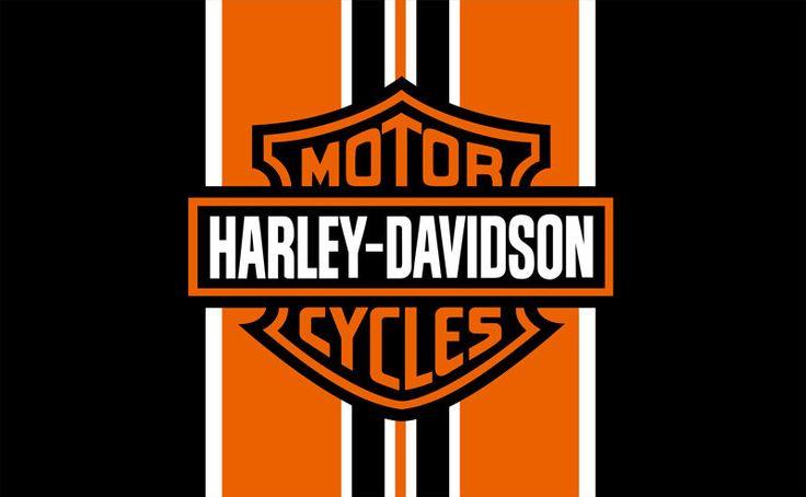 Harley Davidson Orange Amp Black Banner Flag Sign 3x5