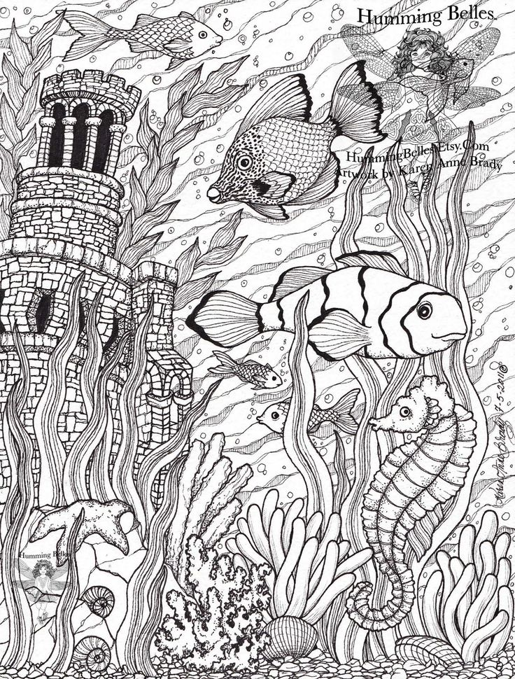 Under the Sea illustration and colour pages @ Humming Belles