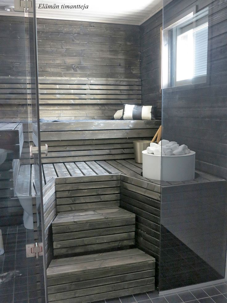 sauna -  like the grey wood instead of the more common red. Feels more relaxing