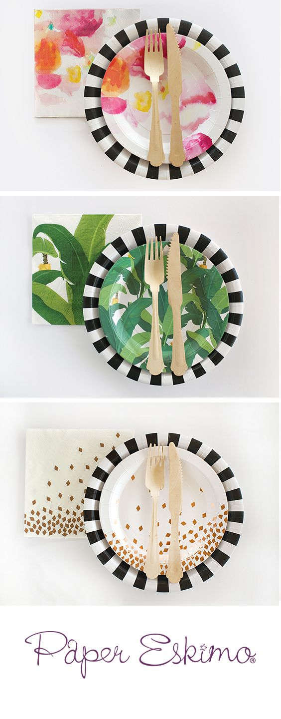 Tired of boring overused designs?! Let the fun begin with these unique and extra durable styles. No seep, no spills, and no mess. Original designs are hand created and will not be found at the big box stores.  Perfect for the next birthday party, baby shower or bridal shower. | Floral Bridal Shower Party | Tropical Jungle Party | Gold Birthday Celebration , Papereskimo.com