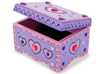 Melissa & Doug DIY Wooden Jewellery Box.Add your creative touch to the decoration of this divine wooden jewellery box. The latching chest has a velvet lined base and a safety mirror inside the lid. All-inclusive kit includes craft glue, glitter glue, sparkling gems and glitter stickers. $29.95 and in stock.  Follow this link for more information http://www.shellstreasures.com.au/#!product/prd1/1338603181/melissa-%26-doug-diy-wooden-jewellery-box