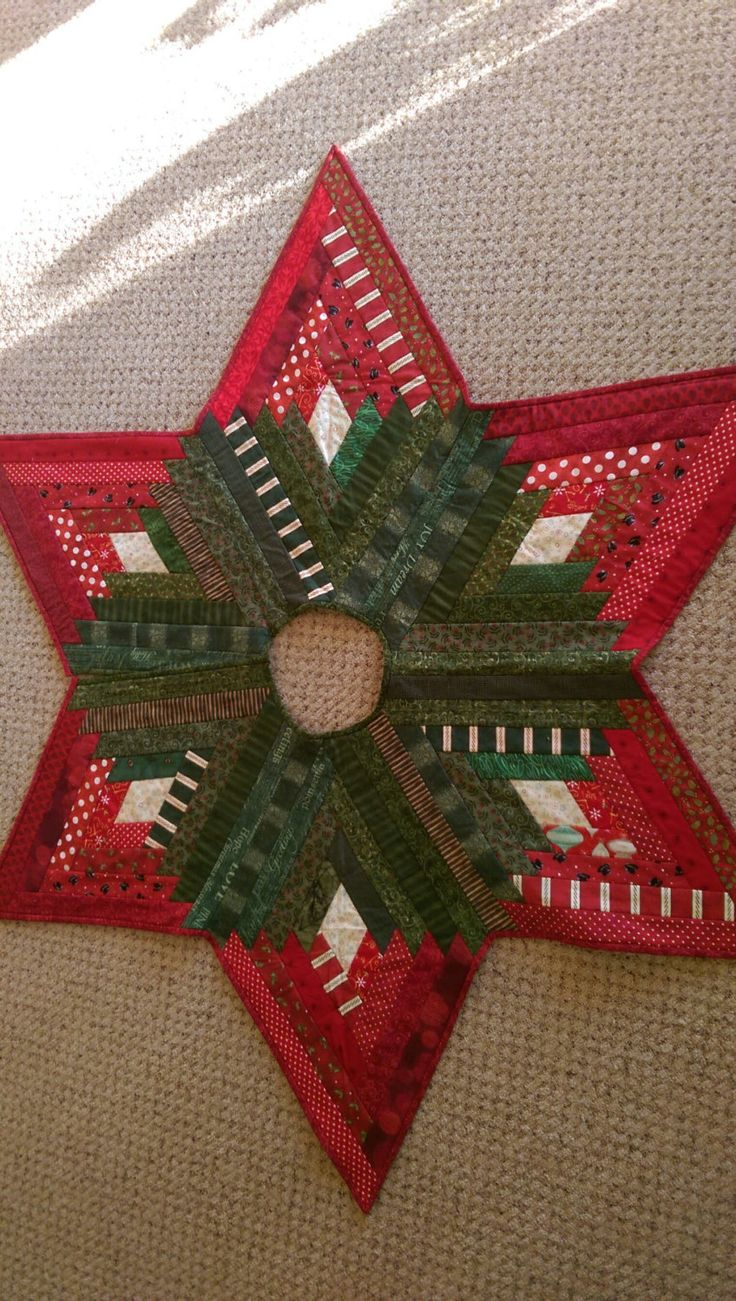 Scrappy Strips Quilted Christmas Tree Skirt By Quiltedoccasions On Etsy
