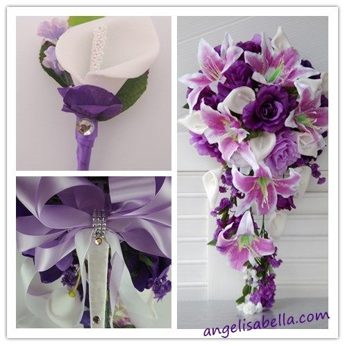 Reserved-Ana-shipment 9/27/13:shades of purple White wedding silk flowers | Angel Isabella