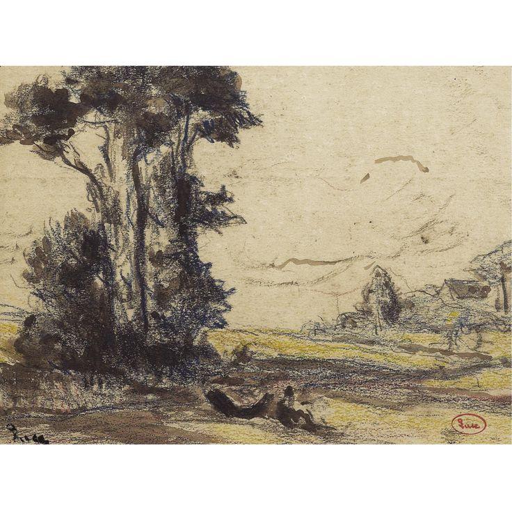 Maximilien Luce (1858-1941), BRETAGNE KERMOUSTER, L'EMBOUCHURE DU TRIEUX; Coloured crayon and brush and ink on paper, 17x23cm