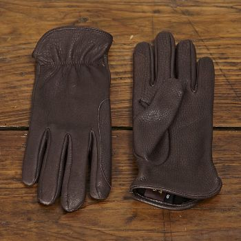Chester Jefferies Brown Deerskin Gloves - Unlined: Skilfully made in England by master glovemakers Chester Jeffries.  This hard-wearing yet elegant glove is made using North American Deerskin leather.   A reinforced index finger makes them useful for roping horses, wielding axes and a wide range of tasks in the outdoors, but of course, they're good looking enough to be worn around town.