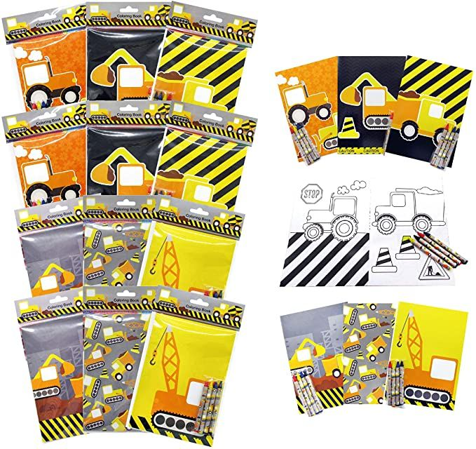 Amazon Com Construction Trucks Coloring Book With Crayons Party Favors 12 Pack Office Products Coloring Books Party Favors Color