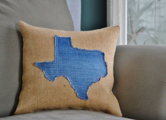 NEW- State of Texas Burlap and Denim Pillow by CourtneesCreations, $36.99