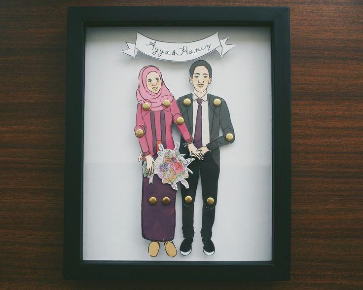 Ayya & Hariz Paper-doll Character Framed