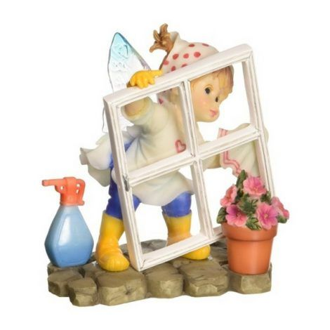 Sparkling Clear Fairy www.teeliesfairygarden.com It's still a busy weekend for this sparkling clear fairy! She's on the move in making sure that her fairy house and window are squeaky clean. #kitchenfairy