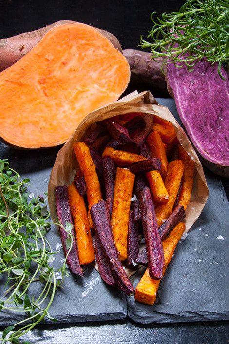 Lila och orange sötpotatisfries