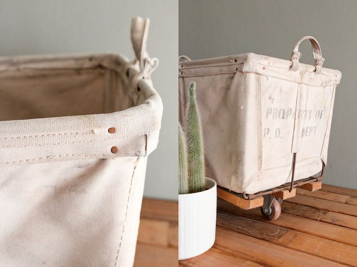 Industrial Mail Cart Rustic Laundry Bin Vintage Heavy Canvas