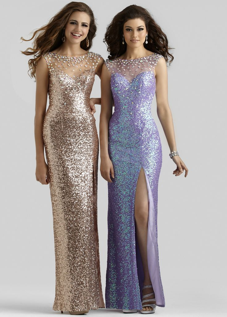 Clarisse 2350 Sequin Rose Gold and Princess Purple Evening Gown with a High Neckline