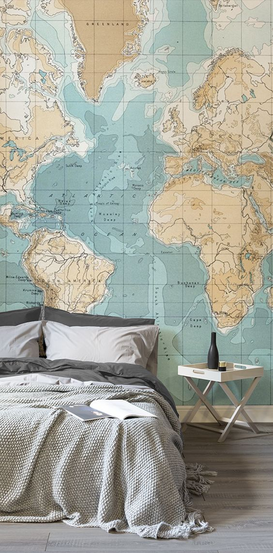 78 best world map wallpaper images on pinterest after the vintage look in your bedroom this world map mural showcases sumptuous caramel hues gumiabroncs Images