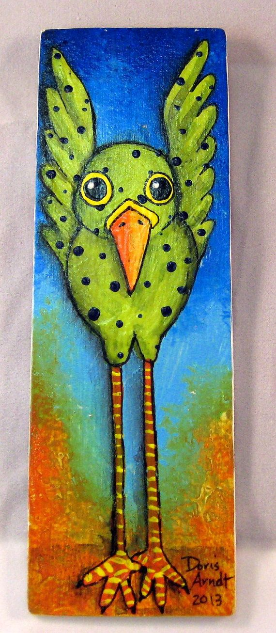 Green Whimsical Bird by PhantomWhispers on Etsy, $45.00