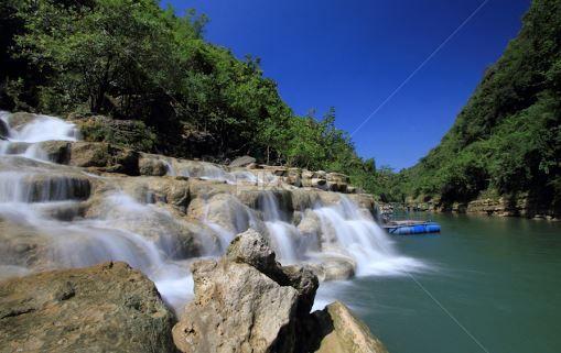 suasana Air Terjun Sri Gethuk yang damai