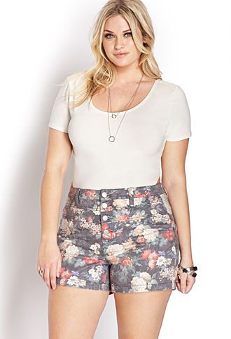 Fantasy Floral High-Waisted Shorts Forever 21+ - A pair of high-waisted denim shorts featuring a floral print. Front button placket. Four-pocket construction. Belt loops. Finished trim. Woven. Lightweight.