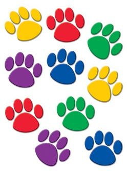 Colorful paw prints classroom decorating accents