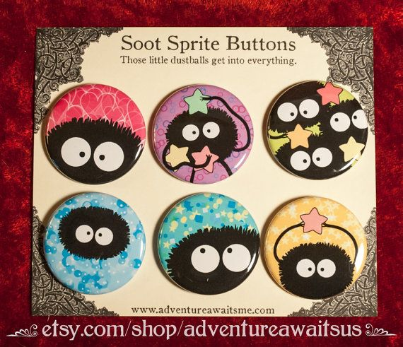 Those little dustballs get into everything. :)  Show your love for the susuwatari (literally, wandering soot) with our delightful set of pinback…