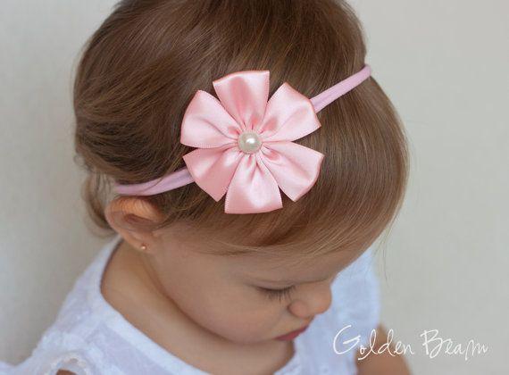 Soft Pink Baby Flower Headband OR Clip - Soft Pink Satin Petal Flower Handmade Headband - Baby to Adult Headband