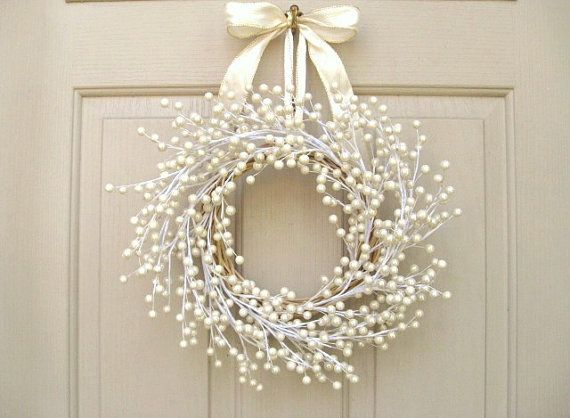 Door Wreath Wedding Wreath Spring Wreath Pearl by AWorkofHeartSA