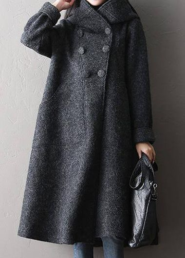 Dark Grey Pocket Hooded Collar Coat on sale at Rosewe.com, free shipping worldwide, check it out.