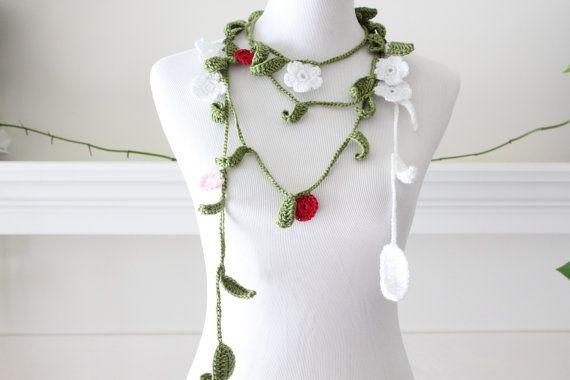 Crochet Red Green White Flower Lariat, Necklace, Scarf, Scarflette