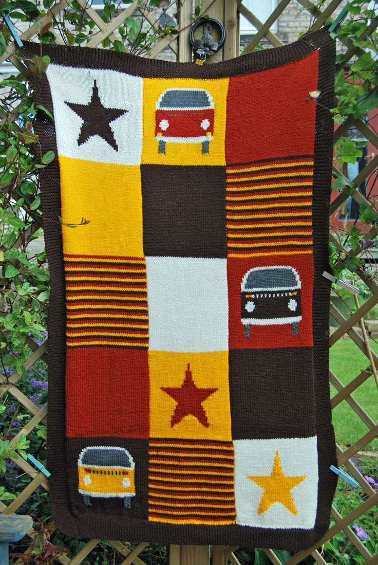 Knitting Pattern - Knit a Bay Campervan (Kombi) Blanket (Based on the VW Bus. This one is kids size but can easily be made bigger). £1.99, via Etsy.