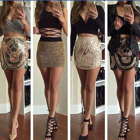 Über dem Knie, Knie, Mini, lang, kurze, verschiedene Schnitte 2016 paillettenbesetzte Rockmodelle. ♥♥♥