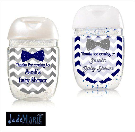 Bowtie Hand Sanitizer Labels Baby Shower Favors Birthday Digital