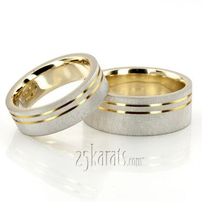can you say beautiful matching wedding rings? Modern Parallel Cut Two-Tone Wedding Ring Set