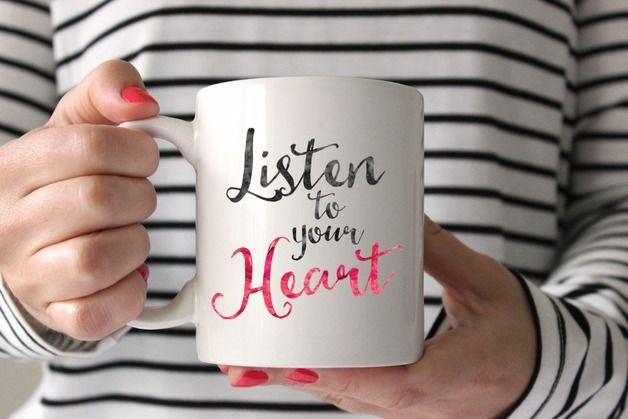 Typographic Mug  ☆ LISTEN TO YOUR HEART ☆    Yours Blissfully Mug x 1  The design is copyrighted to Yours Blissfully  Thanks for looking :-)  ♥ ♥ ♥   The watermark will not appear on...